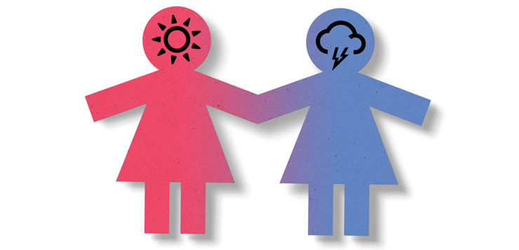 illustration paper people, one with sun in head, one with thundercloud