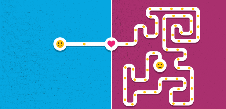 illustration of maze with emojis on either end