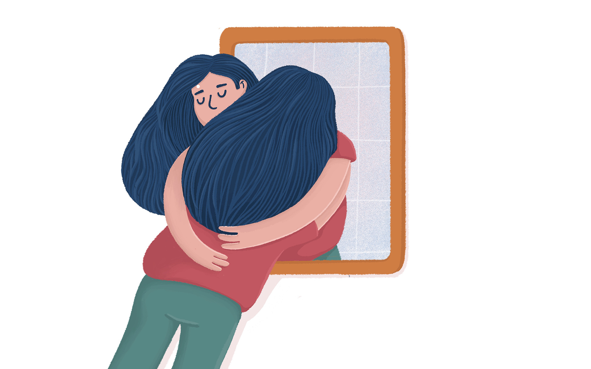 There's someone missing in your friend circle: you - Woman hugging her reflection, self acceptance
