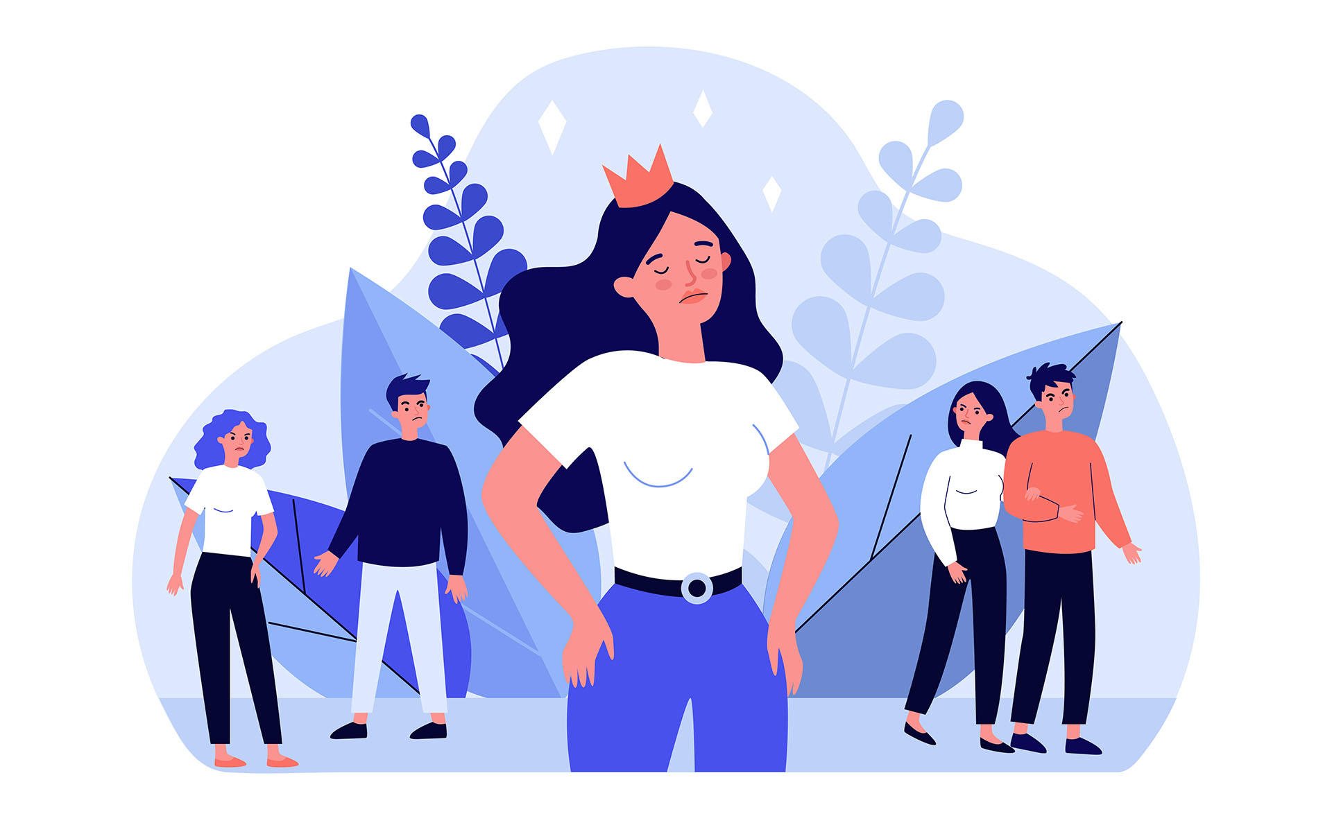 How to Let Go of Ego - Selfish girl and society flat vector illustration. Arrogant young woman not seeing angry people. Social problem and communication concept.