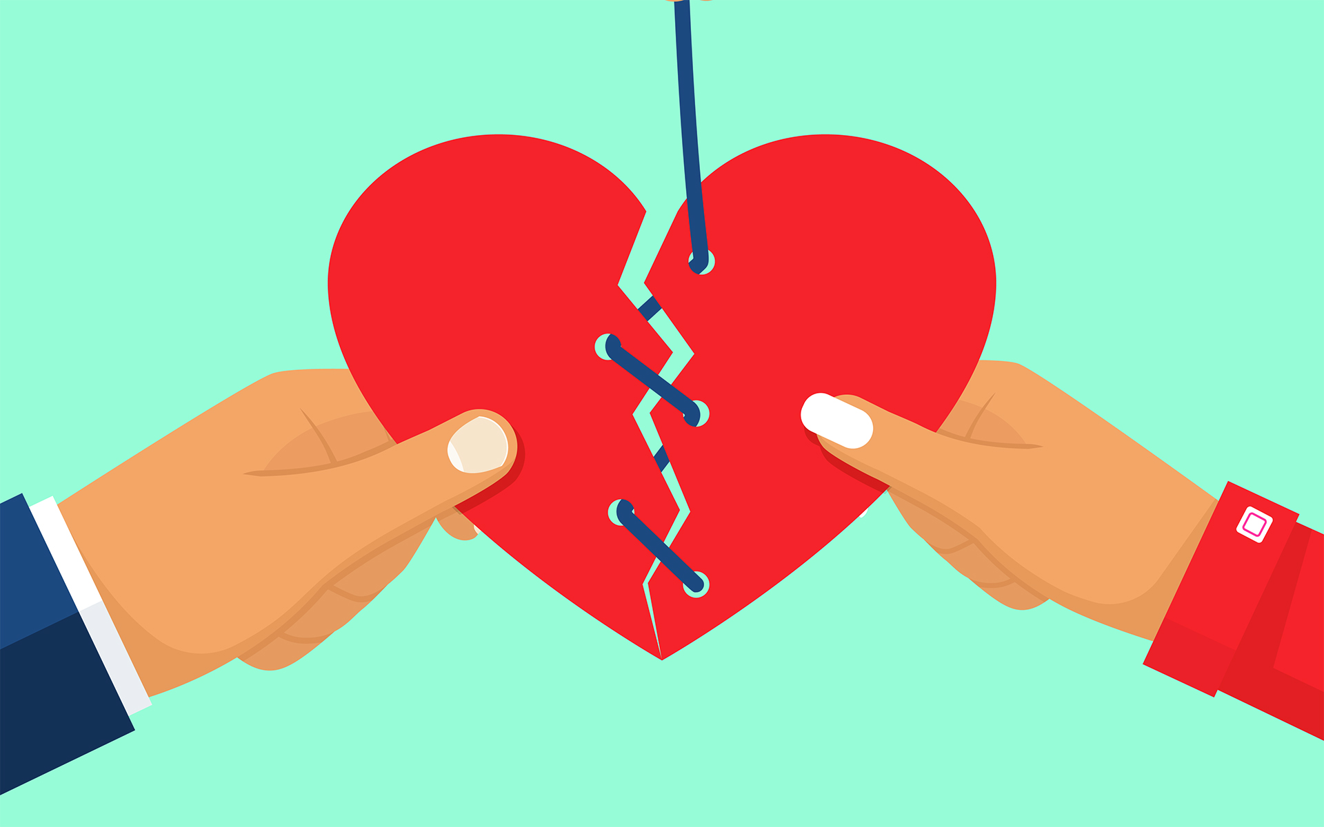 Sharon Salzberg on Why Love will Drive Out Hate - Image of a broken heart held by two hands being sewn back together