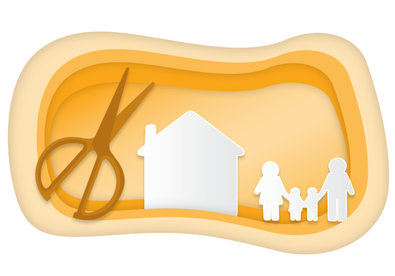 Helping Kids Cope with Stress - Illustration of a paper cutout family and house