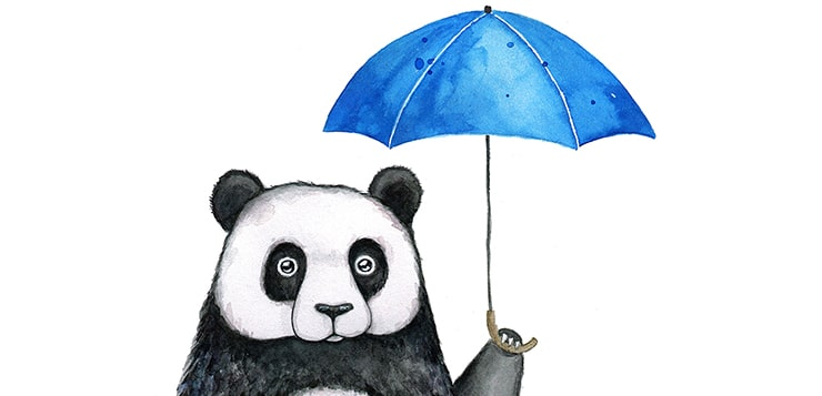 panda with umbrella