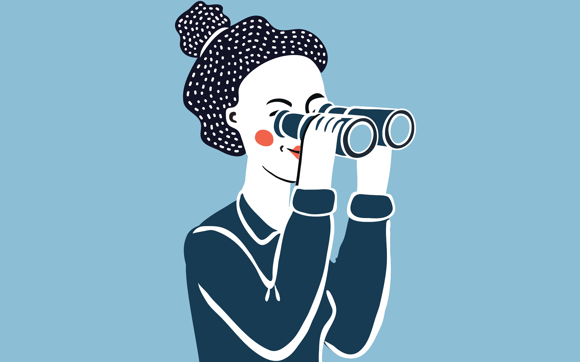 illustration of woman looking through binoculars