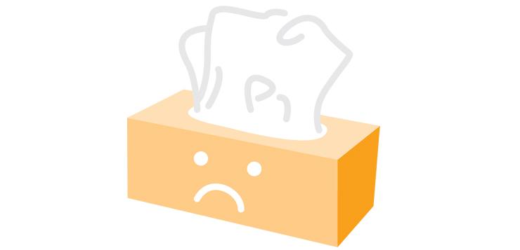 illustration kleenex box with sad face on it