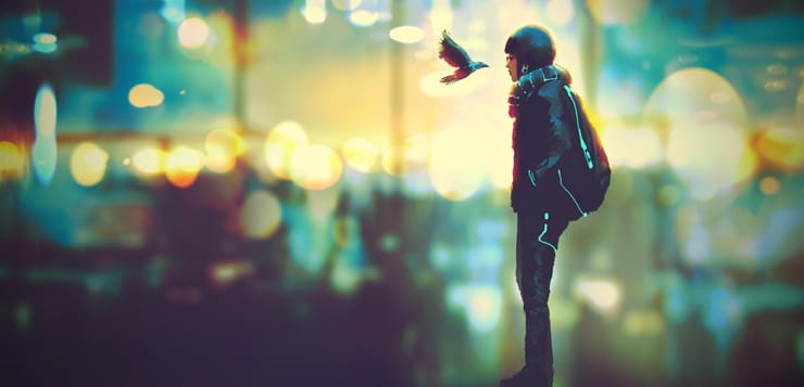 futuristic girl and a bird look each other in the eyes on night city background, illustration