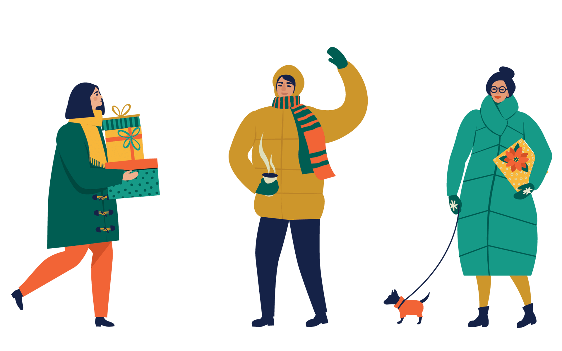 illustration of people in parkas