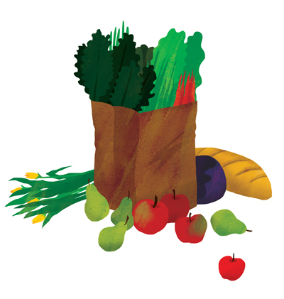 illustration of brown bag of produce