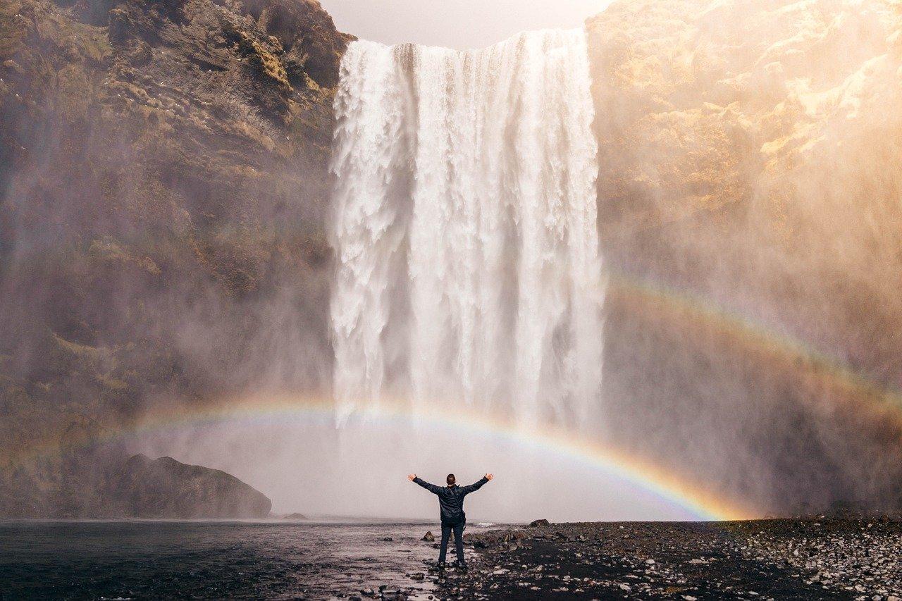 waterfall, rainbow, spray