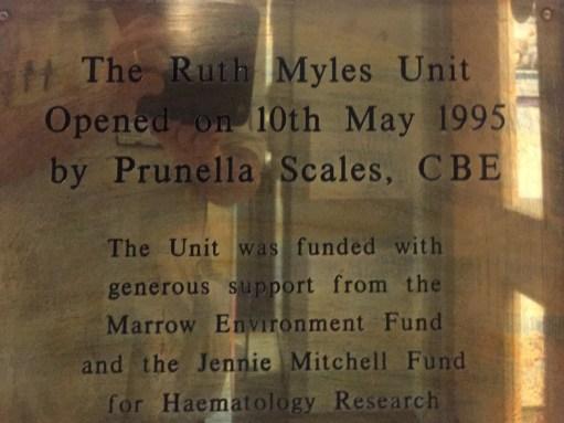 Ruth Myles Unit opening plaque.