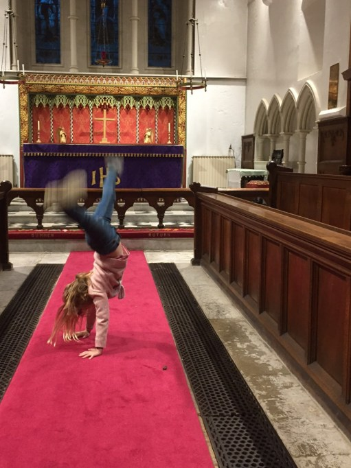Let There be Light: Daisy-Mae cartwheeling between the choir stalls.
