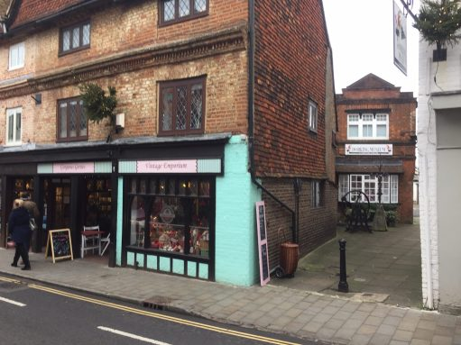 Old Bears - Gorgeous Gerties. Former teddy bear shop left. Dorking Museum right, down the alley