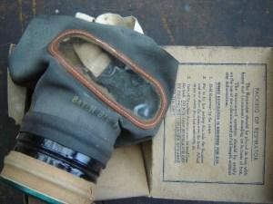 Ernie's War: Ernie's war time gas mask.