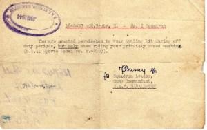 Ernie's War: Special cycle permit.