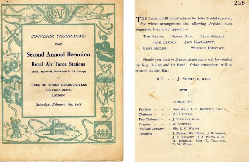 Ernie's War: Picture of reunion programme.