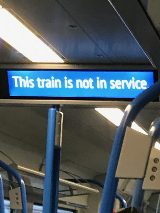 """Brighton: Sign reads: """"This train is not in service""""!"""