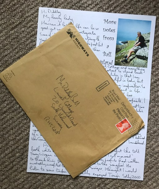 Diddley Tribute: Letter from Skomer. Note the envelope. Ahahaha!