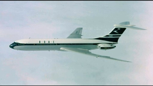 Brooklands: BOAC VC10. Later to become British Airways when joined with BEA. Beautiful.