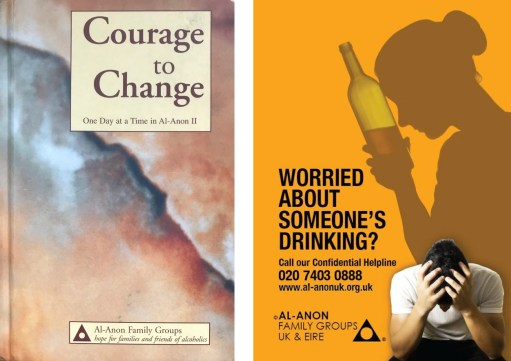 Great Success: Courage to Change book (left) and Al-Anon poster.