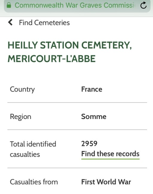 Private Evan Davies: Details on Heilly Station Cemetery, Mericourt-Labbe.