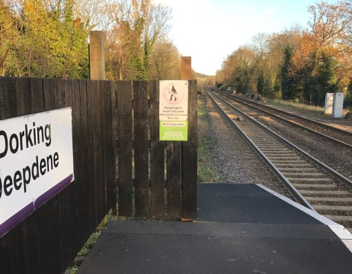 Small Talk Saves Lives: In situ at the end of Dorking Deepdene Station.
