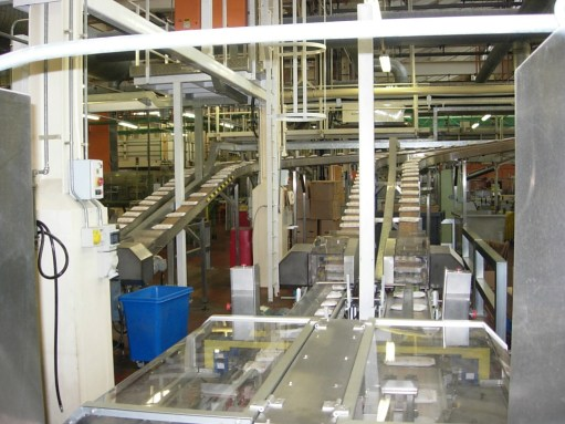 Shredded Wheat: Packets of the biscuits making their way along the production line before being boxed.