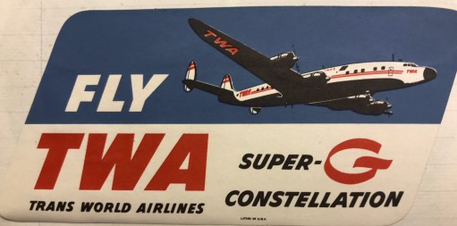 Trevor's Stickies: Trans World Airways. TWA. Bobby's favourite, for its simply beautiful Super Constellations. And the wonderful sound of four Wright radial engines as they floated down to land at Heathrow. Another long story. But bankrupt. Ceased operations in 2001.