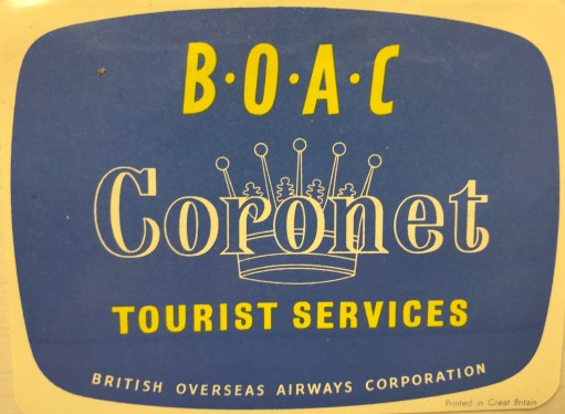 Trevor's Stickies: BOAC Coronet Tourist Services.