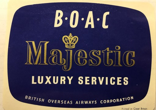 Trevor's Stickies: BOAC Majestic Luxury Services.