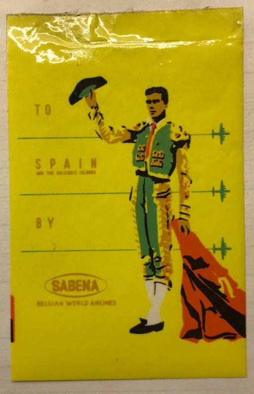 Trevor's Stickies: To Spain by Sabena.