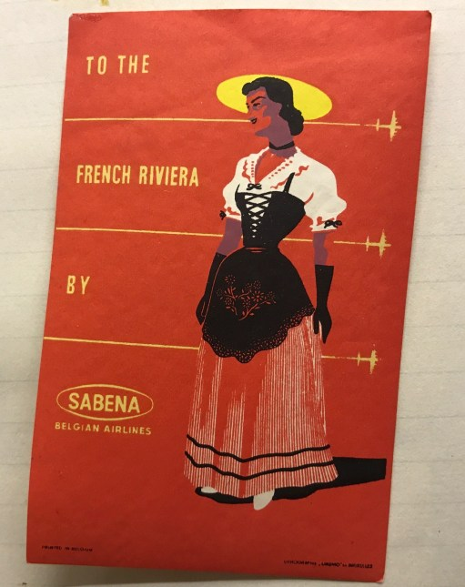Trevor's Stickies: To the French Riviera by Sabena.