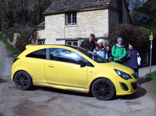 Cotswolds: Bobby with friends and the yellow car.
