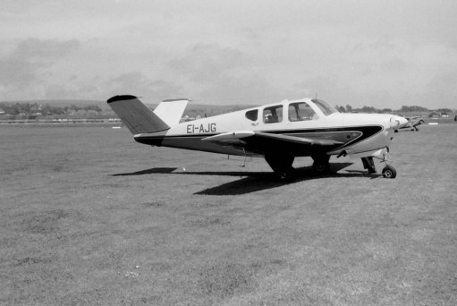 """The actual Bonanza (a Beech G35) they saw at Croydon Airport in 1958. A rare aircraft with a """"butterfly"""" tail."""