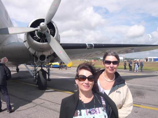"""Croydon Airport: Anne and Diddley after the """"last Dakota' flight."""