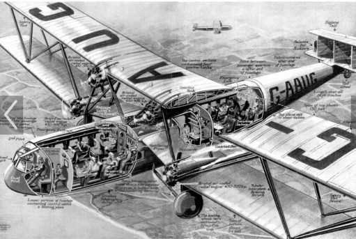 Croydon Airport: HP42 Imperial Airways. Exploded View.