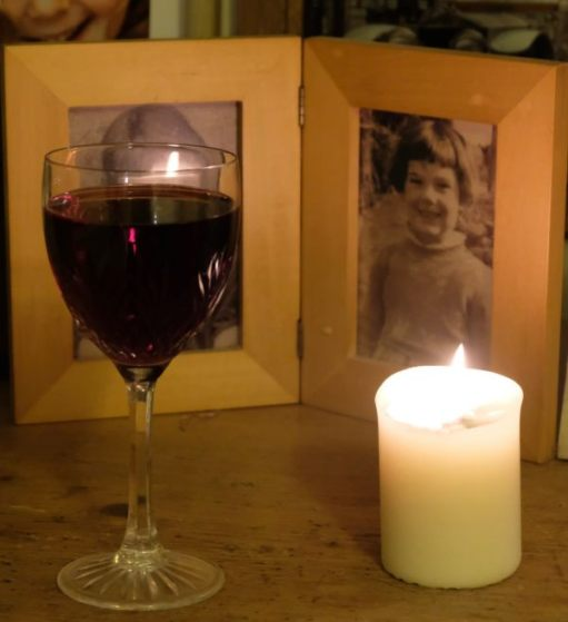 Just Two Hours: Lighting a Candle for Diddley - A glass of red in memory of the Anchor and Wisley Gardens. Sorry, Diddley. Laurel Cottage is alcohol free now… Ribena!