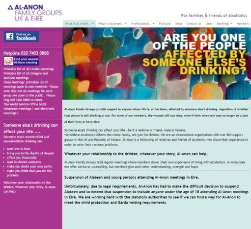 Alcoholic: Al-Anon UK Website Homepage.