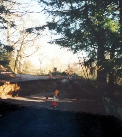 Frank's Walk: At one end of the slip, the road dropped over four feet as seen above. Note the railings in the shadows bottom right.