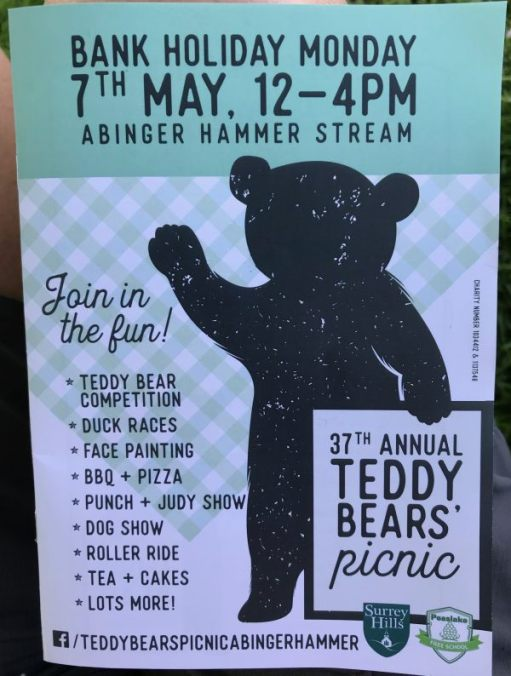 Teddy Bears' Picnic: 7 May 12-4pm.