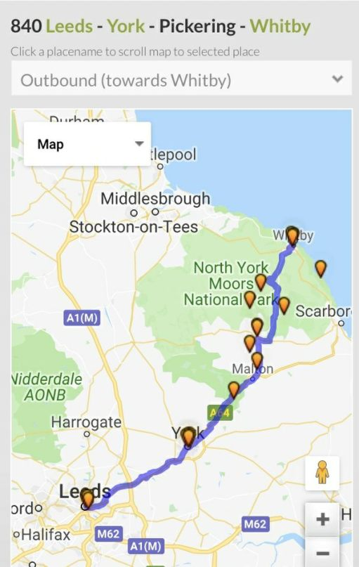 840 to Whitby: This is the whole route.