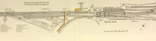 """The Footbridge: The bridge in 1928 plus the """"Milk Dock""""."""