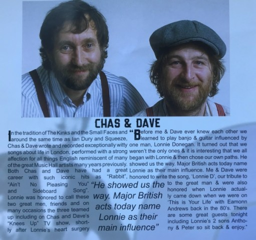 Lonnie Donegan: The Union Chapel programme entry for Chas and Dave.