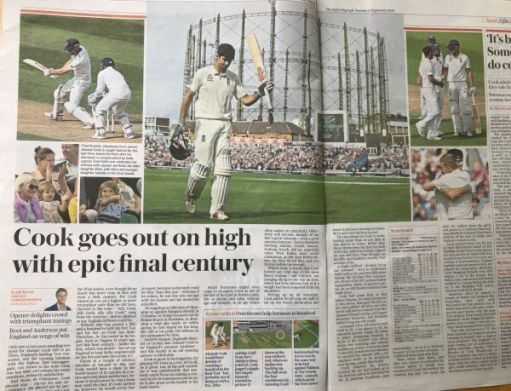 """I woz there: """"Cook goes out on high with epic final century"""""""