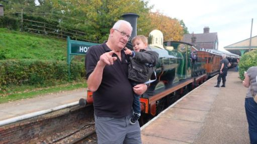 From a Railway Carriage: Victorian engine and carriages. Georgian Grandad… Elizabethan Grandson.