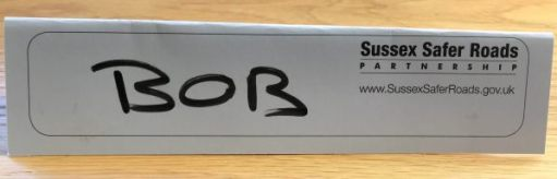 Speed Awareness Course: Bobby's name badge at the Sussex Safer Roads Partnership meetings.