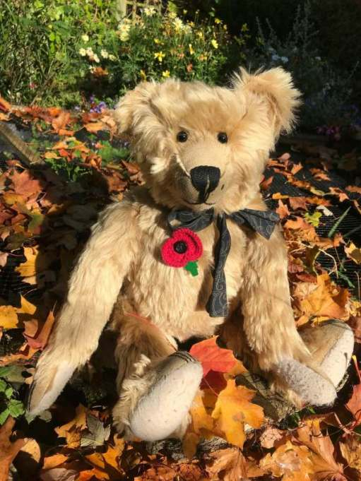 Remembrance Day: Proudly wearing Bobby's knitted poppy.