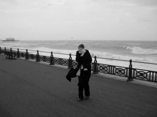 Big Birthday Bash: A windswept Diddley on Hove Seafront.