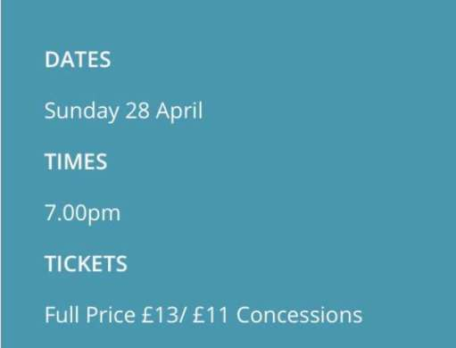 Tickets: £13 or £11 for concessions.