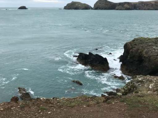Walk from St David's: Turning north alongside Ramsay Island.