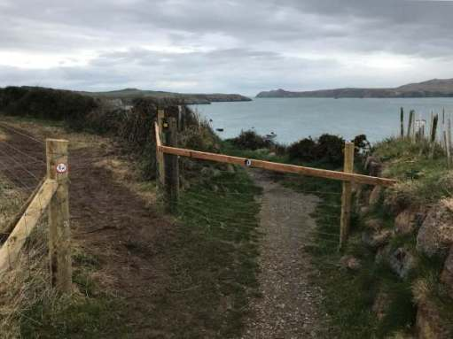 Walk from St David's: Footpath diversion to avoid cliff erosion.